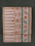 縞に唐花文様 型染め 真綿紬 額縁仕立て帯