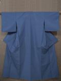 紺青地にとんぼ文様の絹縮