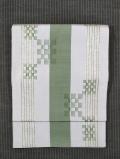 花織 薄雲鼠色(うすくもねずいろ)地に縞文 洒落袋帯