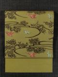 流水に松竹梅と鳥文様 紅型 紬 名古屋帯
