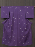 蒲葡(えびぞめ)色に花文 小紋 絽 単衣