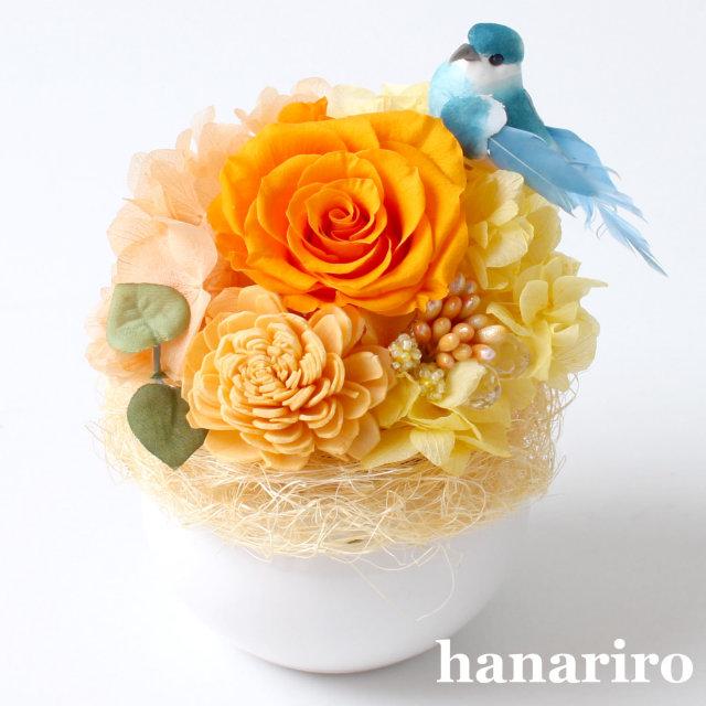 アレンジ「しあわせの青い鳥(黄色オレンジミニ)」/プリザーブドフラワーギフト  【送料無料♪】