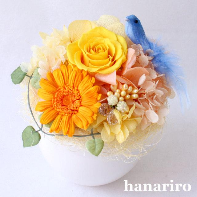 しあわせの青い鳥(黄色オレンジS)/プリザーブドフラワー【送料無料】