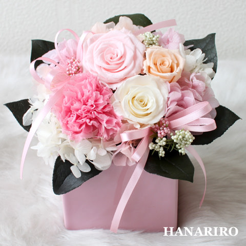 アレンジ「キューティ(ピンク)」/プリザーブドフラワーギフト  【送料無料♪】