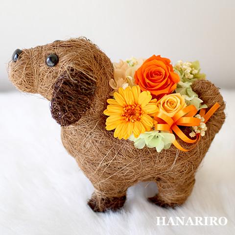 ワンちゃんのバスケットアレンジ/プリザーブドフラワー【送料無料】