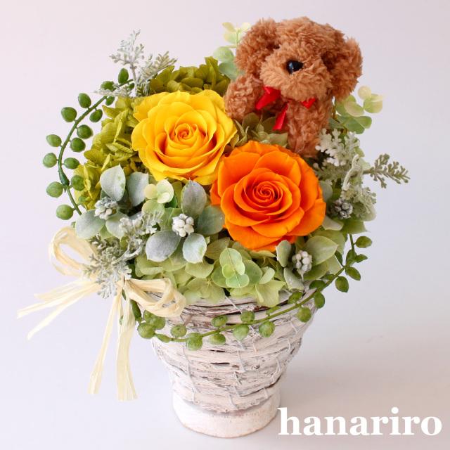 アレンジ「プードルさんのガーデンバスケット」/プリザーブドフラワーギフト  【送料無料♪】