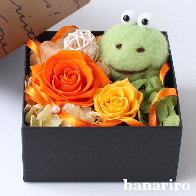 アレンジ「カエルさんのBOXアレンジ」/プリザーブドフラワーギフト  【送料無料♪】