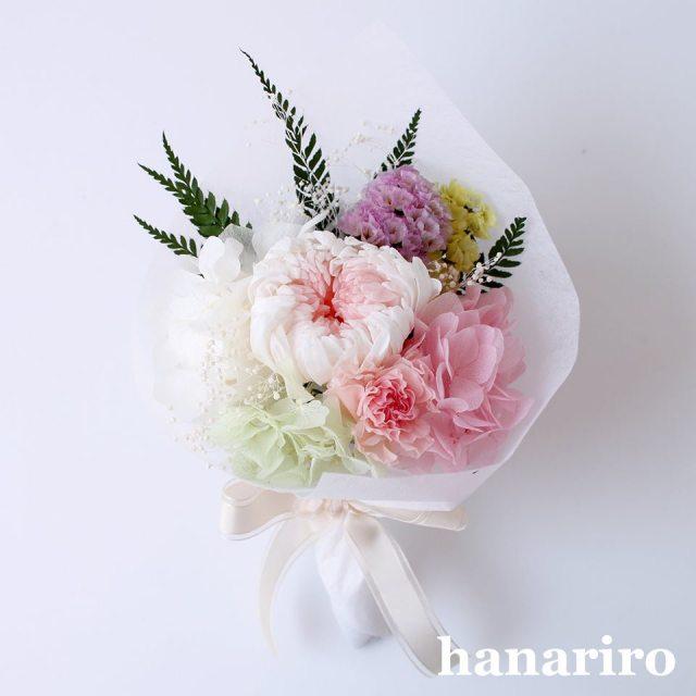 お悔やみブーケ「かなた(淡ピンク)」/プリザーブドフラワー【送料無料】