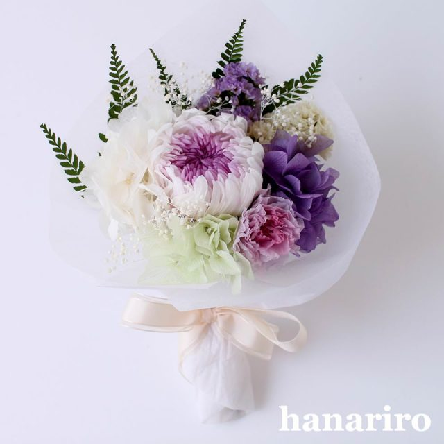お悔やみブーケ「かなた(淡紫)」/プリザーブドフラワー【送料無料】