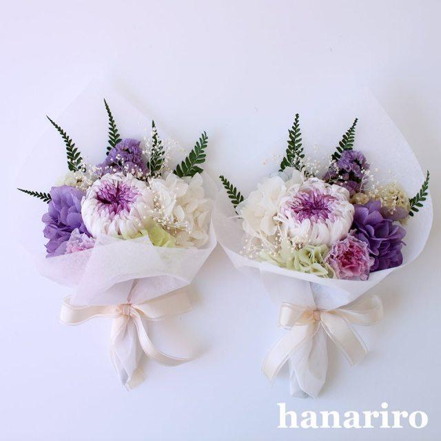 お悔やみブーケ「かなた(淡紫)対」/プリザーブドフラワー【送料無料】