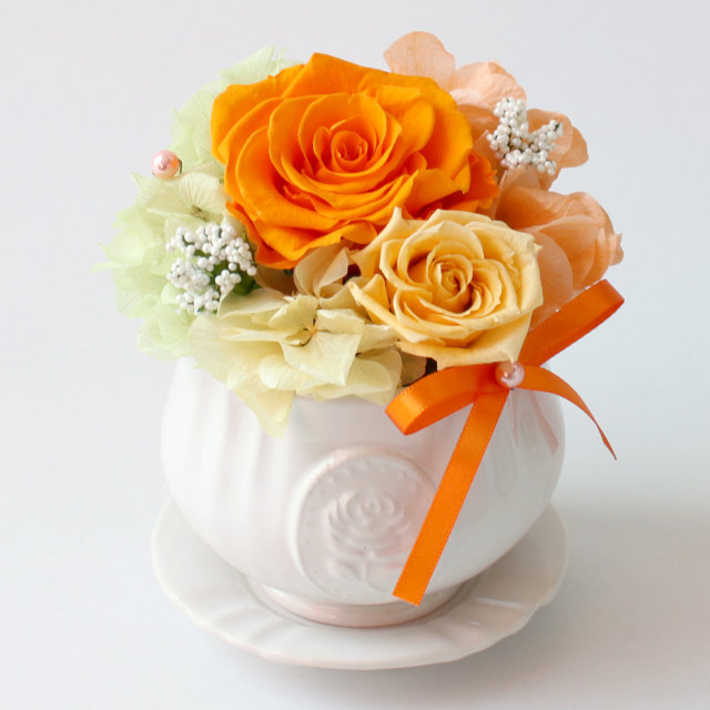 アレンジ「プリカフェ(黄色オレンジ)」/プリザーブドフラワーギフト  【送料無料♪】