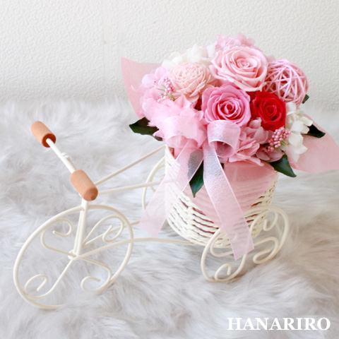 アレンジ「三輪車アレンジ(ピンク)」/プリザーブドフラワーギフト  【送料無料♪】