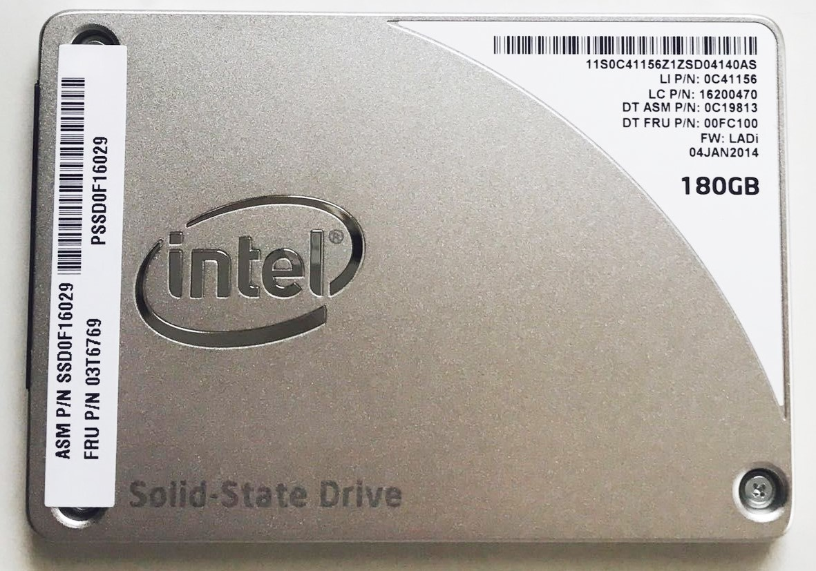SSD:Lenovo製純正品(Intel製)SSD Pro 1500Series 180GB(03T6769,SSD0F16029, 国内発送)
