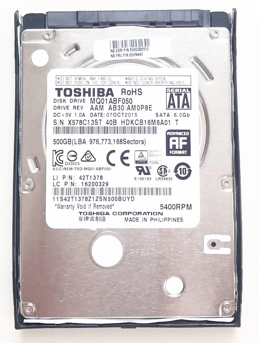 HDD:Lenovo製純正新品 (東芝製) 500GB 5400RPM (00HN443,MQ01ABF050, 国内発送)