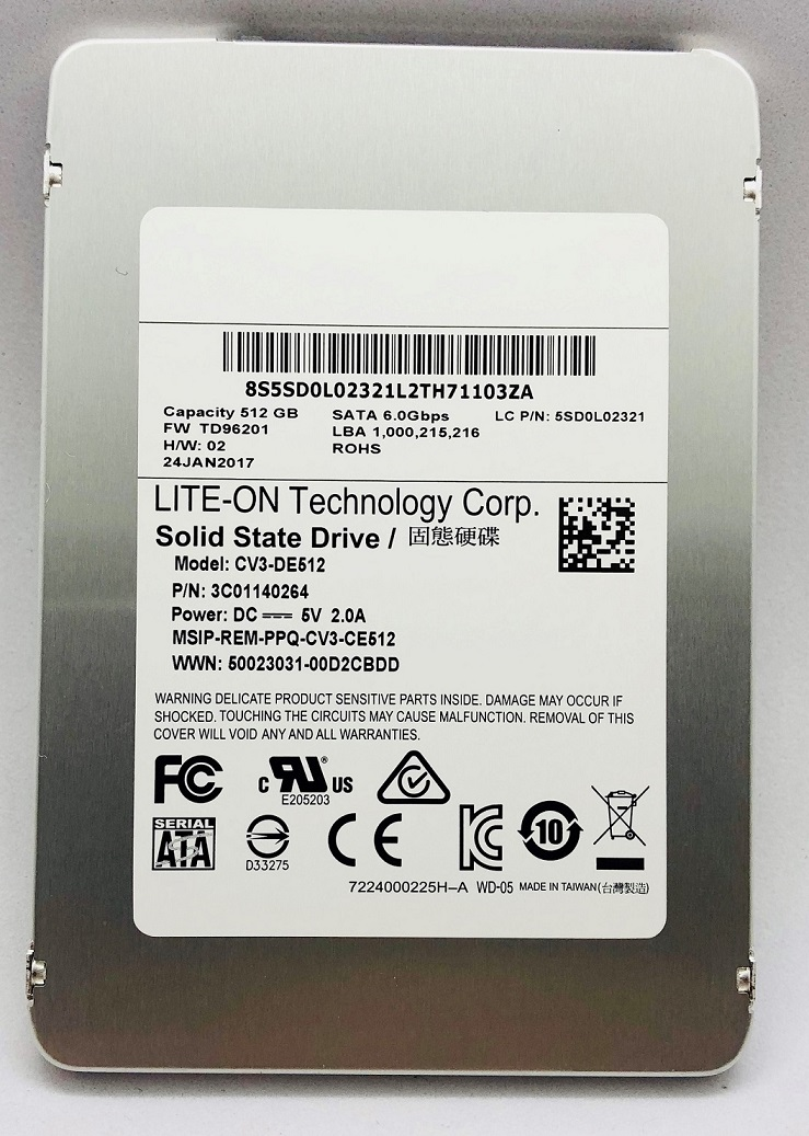 SSD:新品 Lenovo 純正 2.5inch 5mm 512GB (Fru.No.:5SD0L02321,CV3-DE512)国内発送