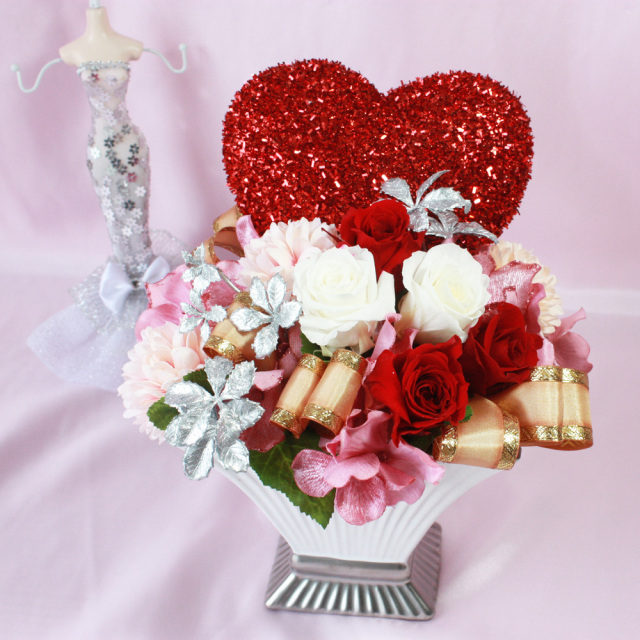 【プリザーブドフラワー】生花バレンタインデー・ホワイトデーアレンジメント   P0026