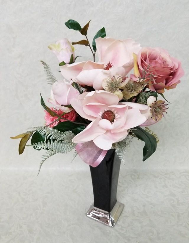 【フェイクフラワー】サテンフラワー ブラック×淡ピンク  P0065