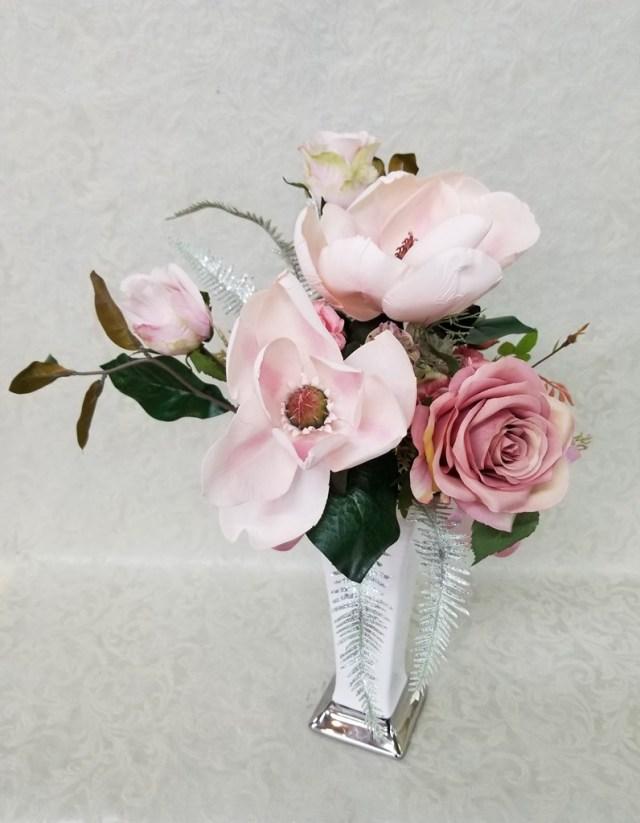 【フェイクフラワー】サテンフラワー ホワイト×淡ピンク  P0067