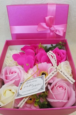 【シャボンフラワー】リボンカラーボックス ピンク  SH0015