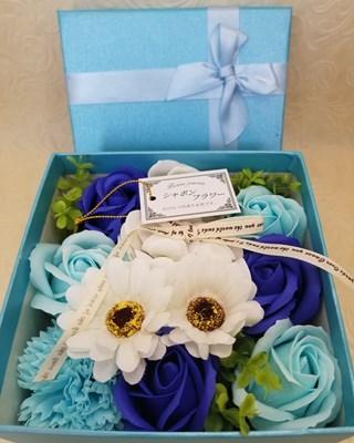 【シャボンフラワー】リボンカラーボックス ブルー  SH0013