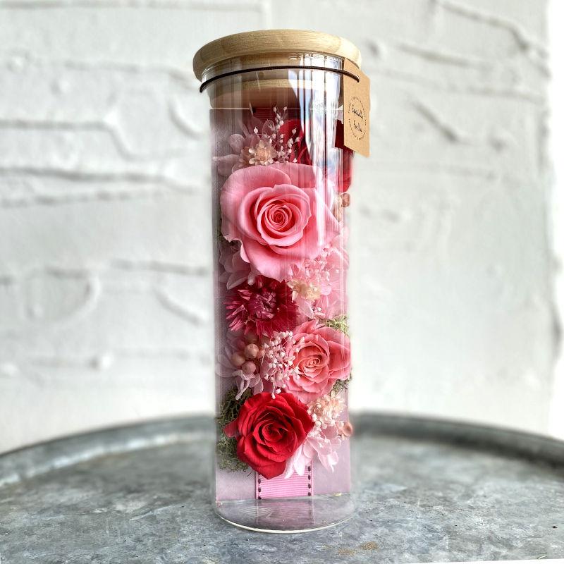 プリザーブドフラワー ボトルフラワーアレンジメント pink