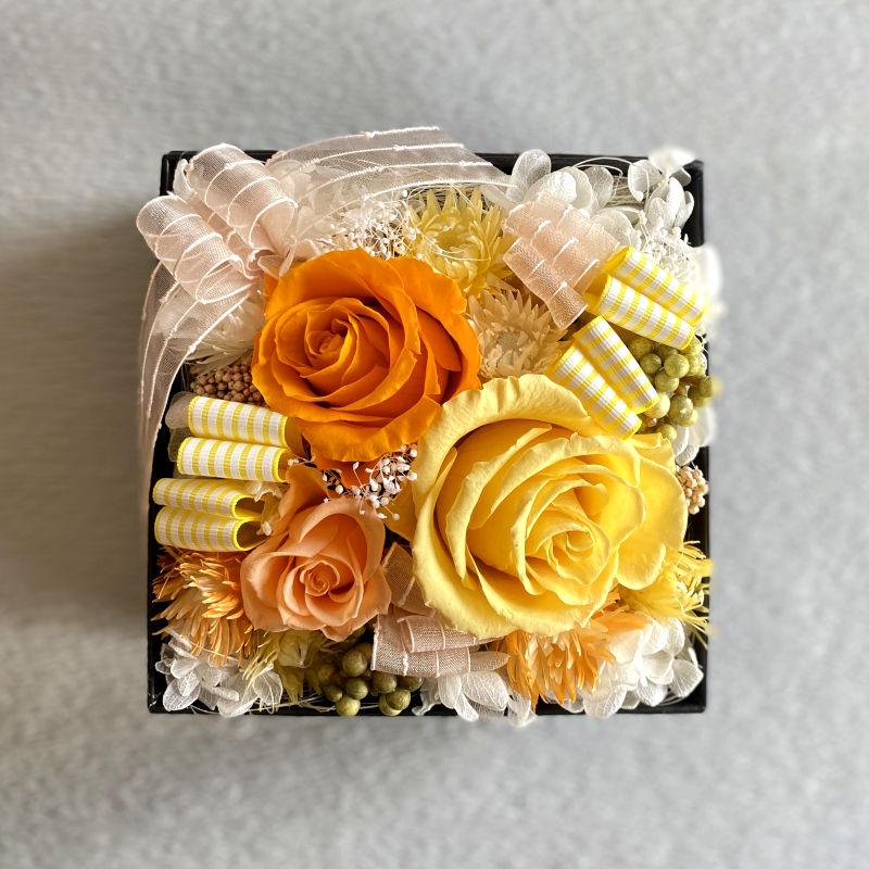 プリザアレンジ ブルームボックス yellow