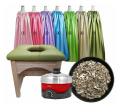床保護の板付き、緑のヨモギ蒸し椅子セット、よもぎ蒸しサロン、モギ蒸し椅子セット