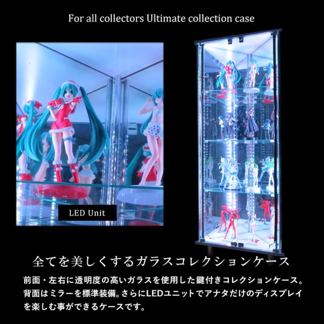 ガラスコレクションケースJONY コーナー三角形 LEDユニット