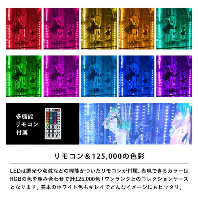 ガラスコレクションケースJONY スリム幅40cm LEDユニットセット