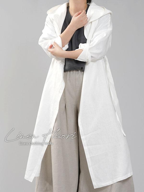 【wafu】中厚 リネン カシュクール フードコート ロング丈 長袖 羽織 ワンピースコート/ホワイト a005c-wht2