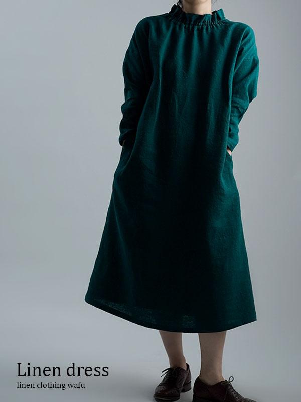【wafu 入門編】数量限定!Linen Dress 育てていくリネン シャーリングハイネック ドレス / ビリジアン a008f-vrj2