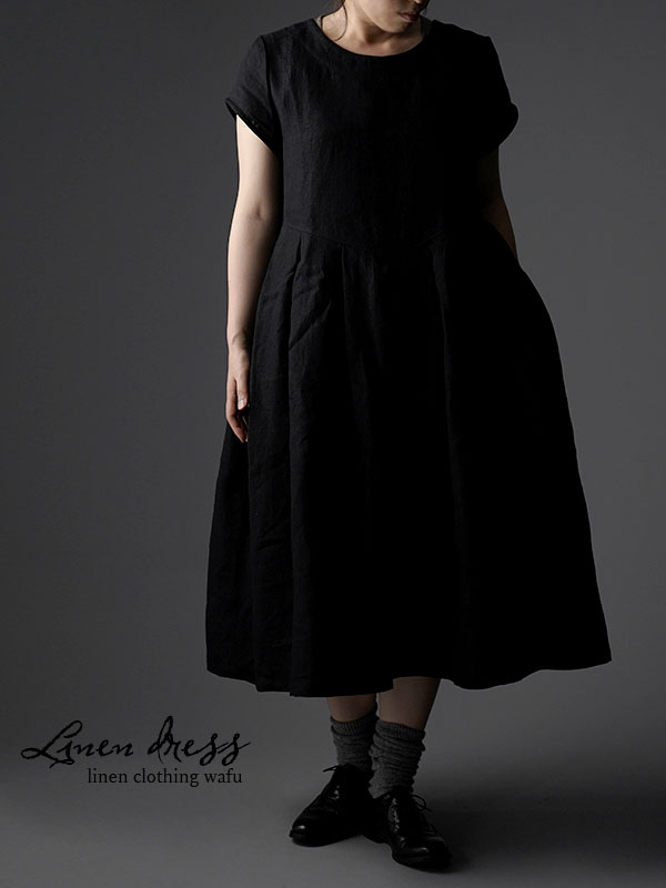 Linen box pleated detailing dress 鍵盤 タック リネンワンピース 中厚 / ブラック a013f-bck2