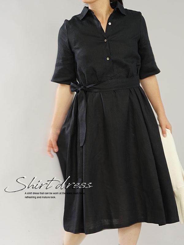 薄地 リネンワンピース ホリゾンタルカラー シャツ ドレス 5分袖 タックスカート スリット袖  / ブラック
