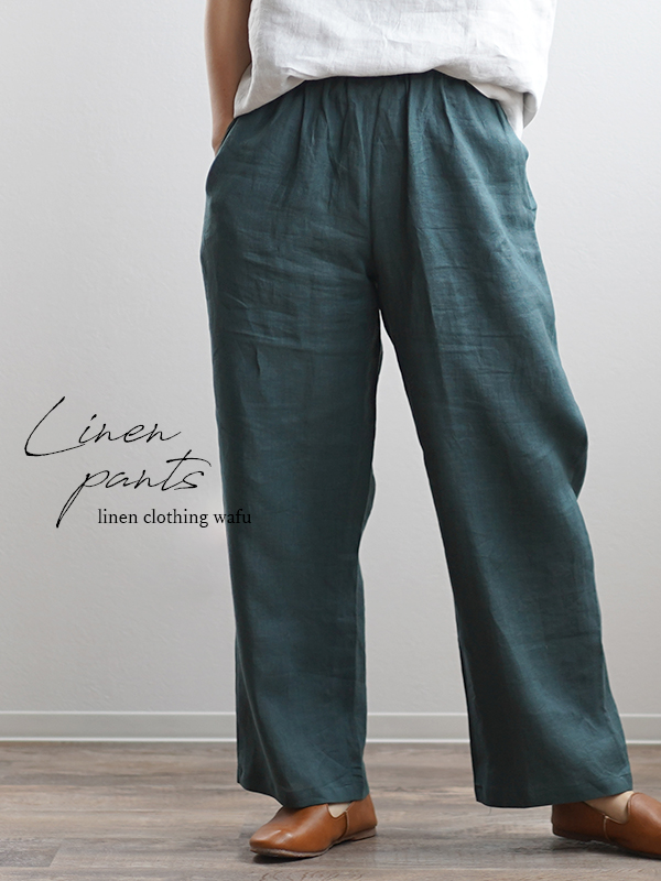 薄地 雅亜麻 リネン パンツ リラックスパンツ ボトムス ウエストゴム ポケットあり/高麗納戸(こうらいなんど) b001a-kou1