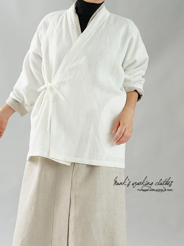 男女兼用 リネン 作務衣 和装 禅 羽織 リネンカーデ カーディガン 半端袖 ポケット付き / ホワイト