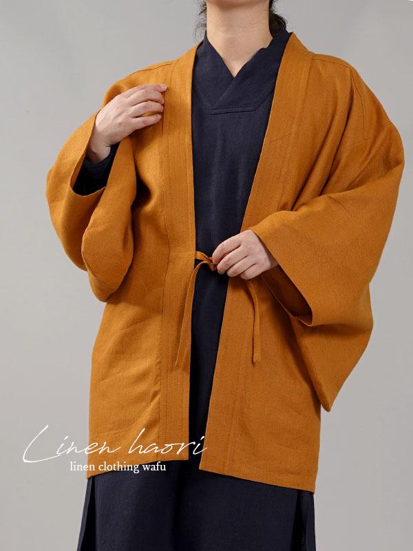 【wafu】中厚リネン羽織 haori 男女兼用 和装 和服 リネン着物 kimono Jacket/山吹色【free】h037h-ybk2