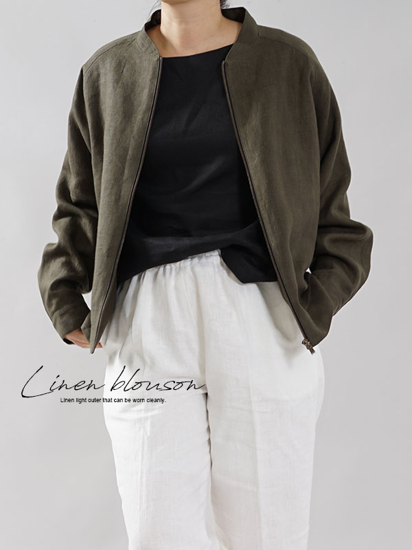中厚 リネン MA-1 フライトジャケット ブルゾン 羽織り ミリタリージャケット 男女兼用 内ポケットあり / カーキ