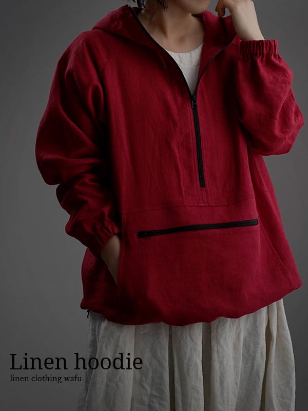 【wafu】Linen Anorak  アノラック パーカー /レッド h053b-red2