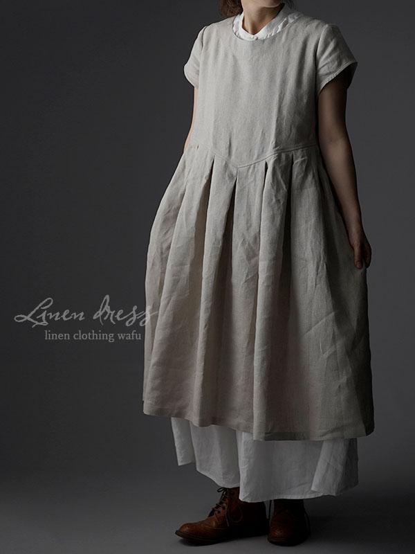 Linen box pleated detailing dress 鍵盤 タック リネンワンピース 中厚 / 亜麻ナチュラル a013f-amn2