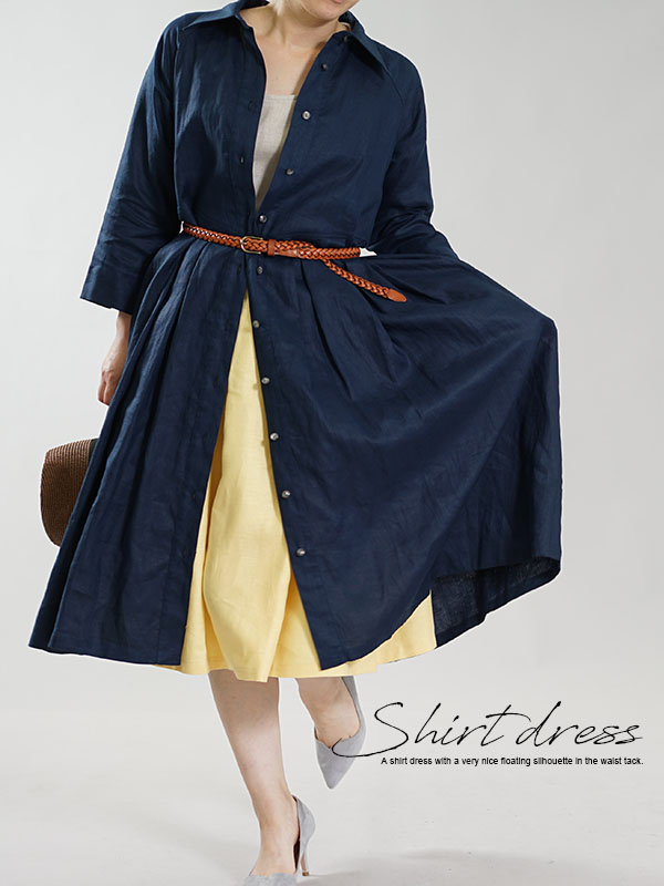 薄地 リネンワンピース 2wey 前開きシャツカラータックドレス ラグランスリーブ 袖スリット / ネイビー