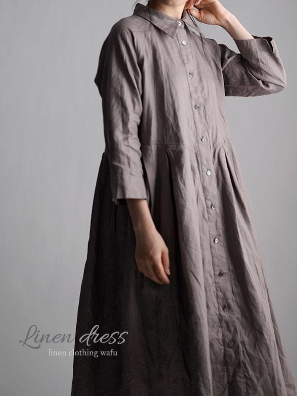 Linen Shirt Dress  リネンワンピース  やや薄地/ヴァニーユ a013j-vay1
