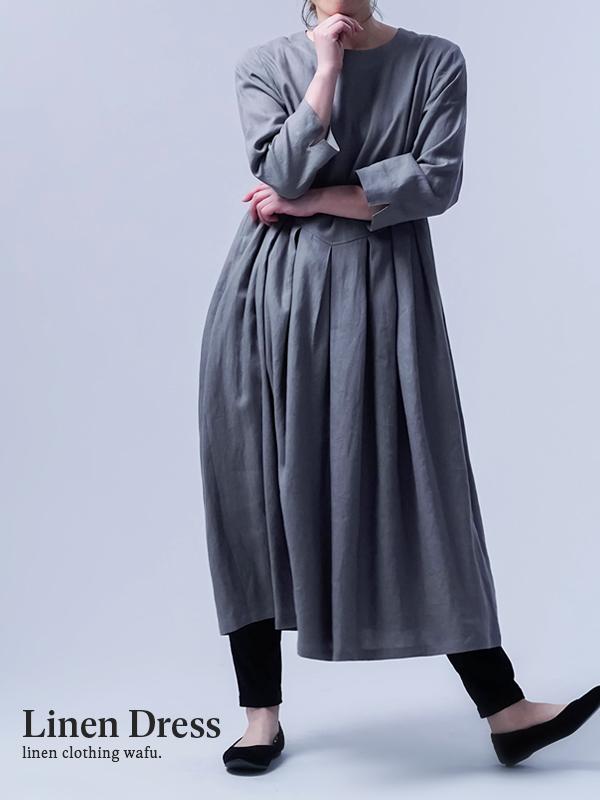 【wafu】Linen Dress   鍵盤タックワンピース / 鈍色(にびいろ) a013o-nib1