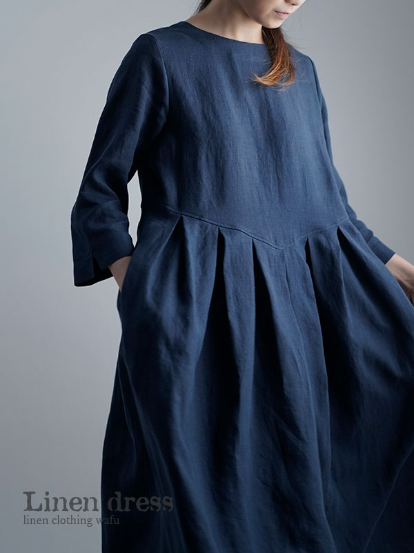 【wafu】Linen Dress   鍵盤タックワンピース / 留紺(とめこん) a013o-tmk1