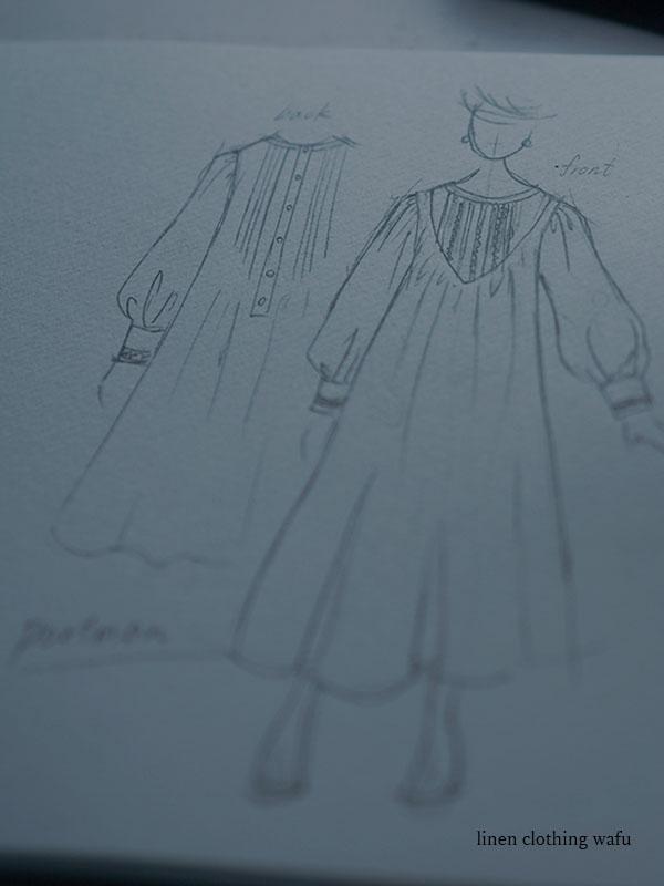 【受注販売】Portman (ポートマン)  Embroidered Linen Pintuck Dress リネンドレス ピンタック mokubaレース  / a014c