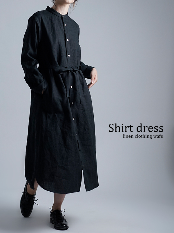 Linen Dress すっきりシャツテール ワンピース / 黒色 a015c-bck1