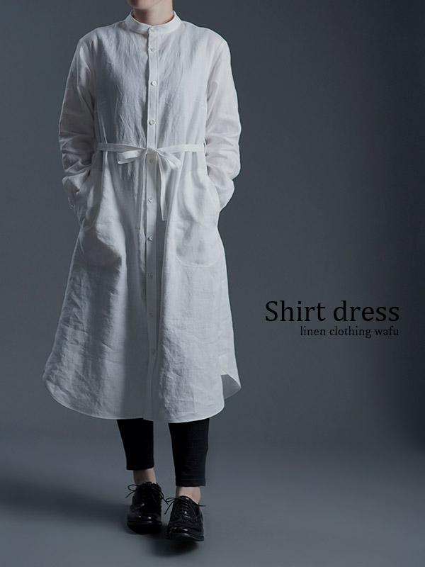 Linen Dress すっきりシャツテール ワンピース / 白色 a015c-wht1