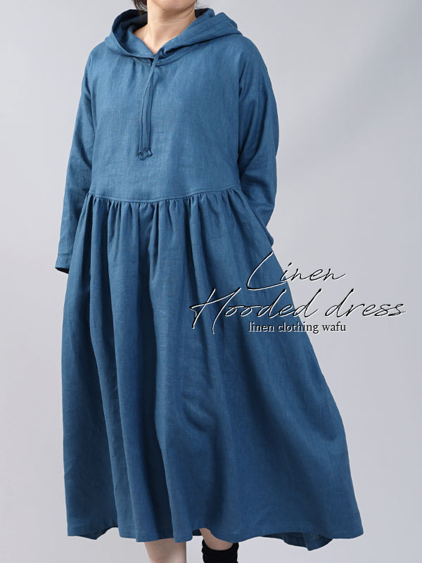 【wafu】中厚リネンパーカーワンピース フードの魔術師 パーカードレス/ブルーパッセ【free】a018c-bps2
