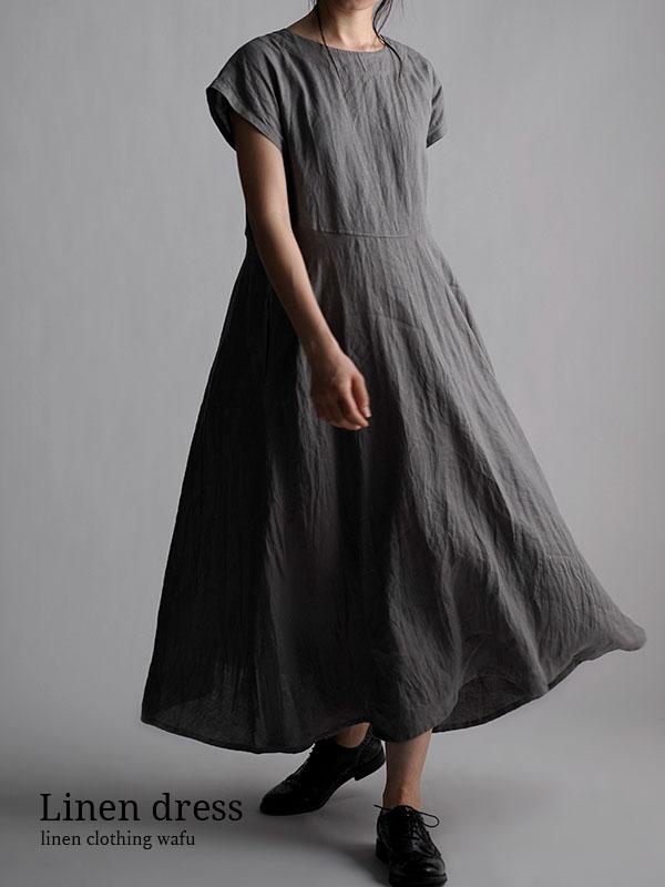 Linen Flare Dress リネン ワンピース やや薄地 /鈍色(にびいろ) a019d-nib1