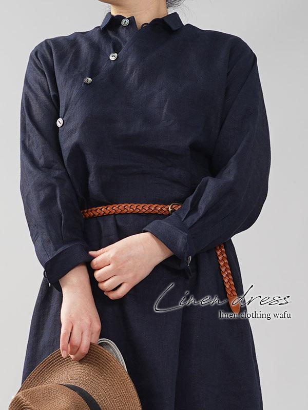 中厚 斜めボタン ちびシャツ襟 ワンピース 伝統的スタイル カフス袖 タック袖 ネイビー M-L a028h-neb2