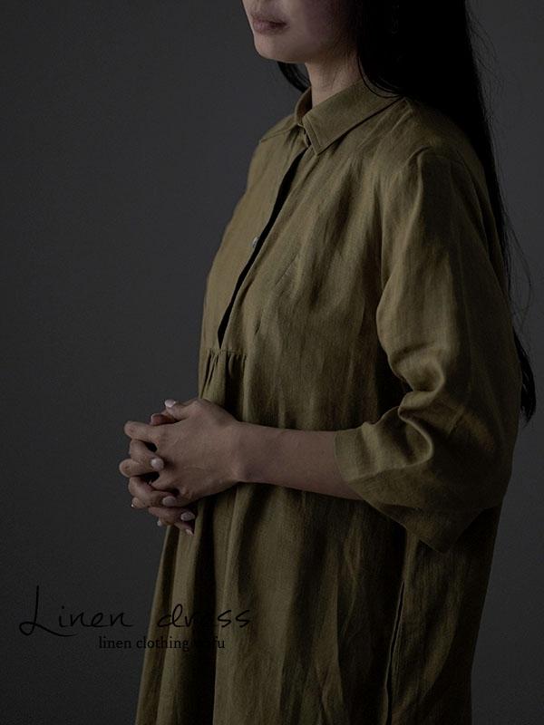 雅亜麻 リネン ワンピース カッタウェイ シャツ 襟 フロント ギャザー ドレス 薄地/黄橡色(きつるばみ) a031a-kib1